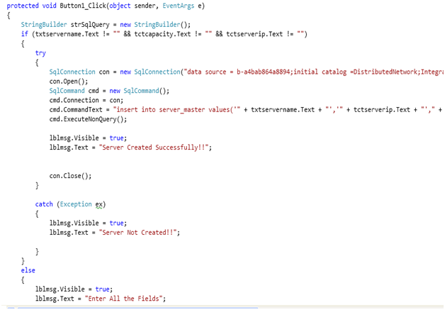 Code for the Create button in the Server Creation Page