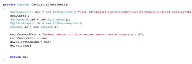 Code for the GetAvailabilityServer() method ion client creation Page