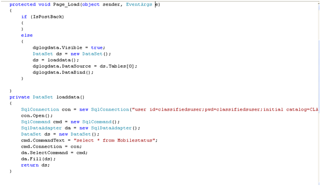 Showing the code binding the datagrid of the Mobile agent with log data