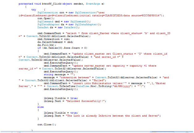 showing the code behind the OFF button in the Linked Servers