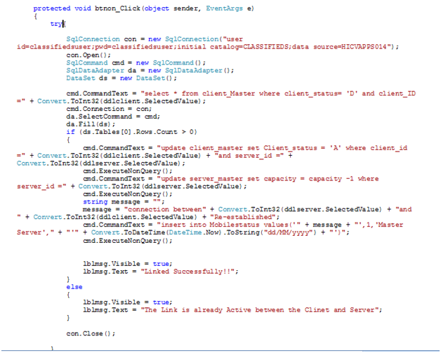 showing the code behind the ON button in the Linked Servers