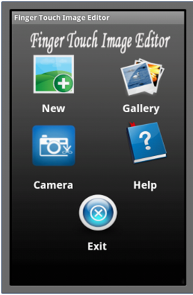 Android Based Finger Touch Image Editor Menu Screen
