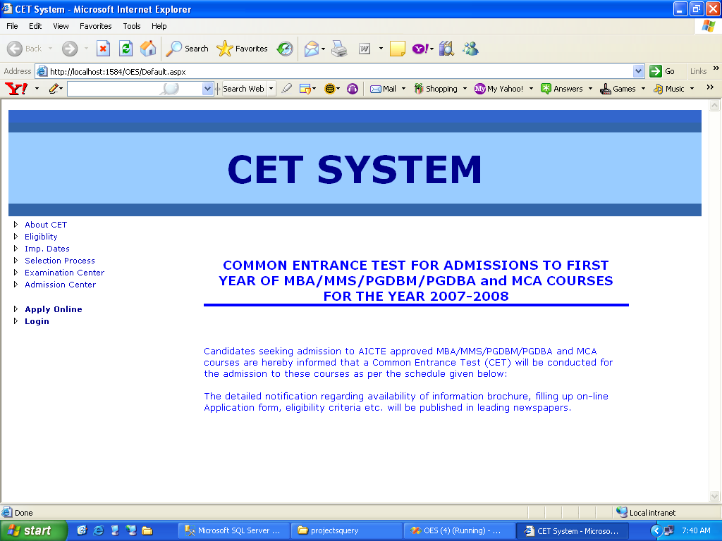 CET Admission System Project