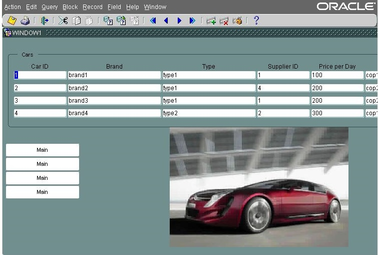 Car Rental System Oracle Application