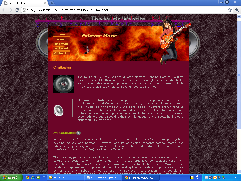 Music Website Home Page