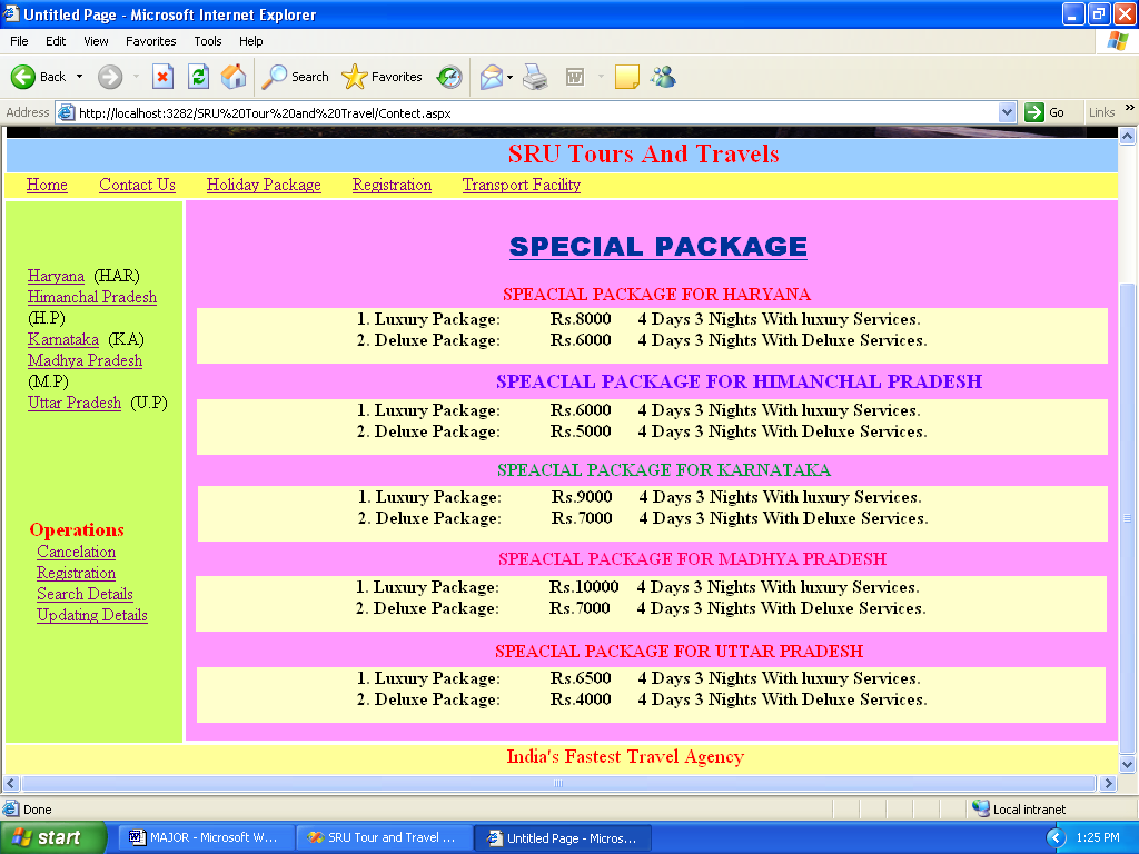 Tours and Travels management System in asp and csharp