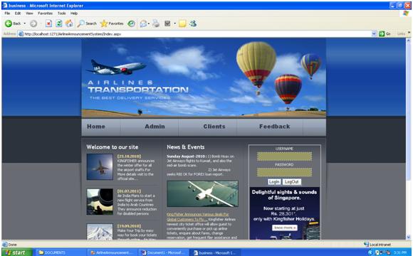 Flight Booking Portal Login Page