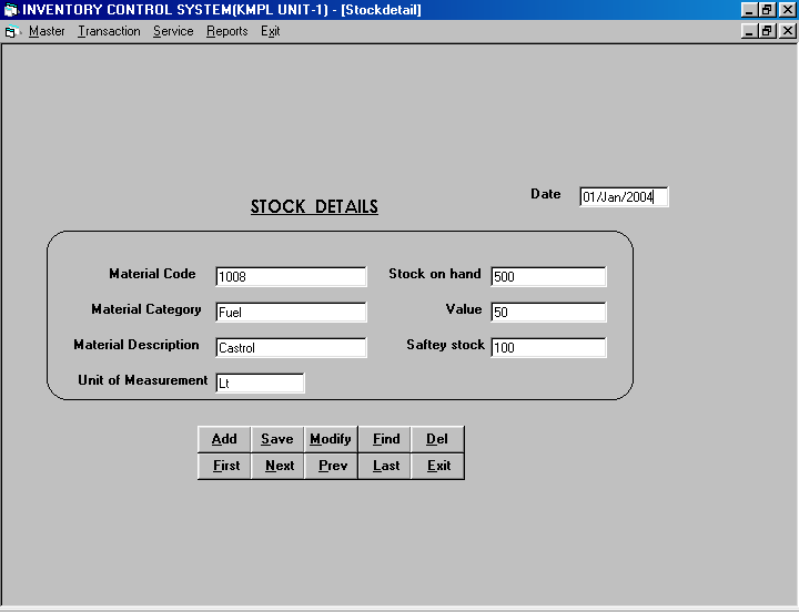 Inventory Control System in VB