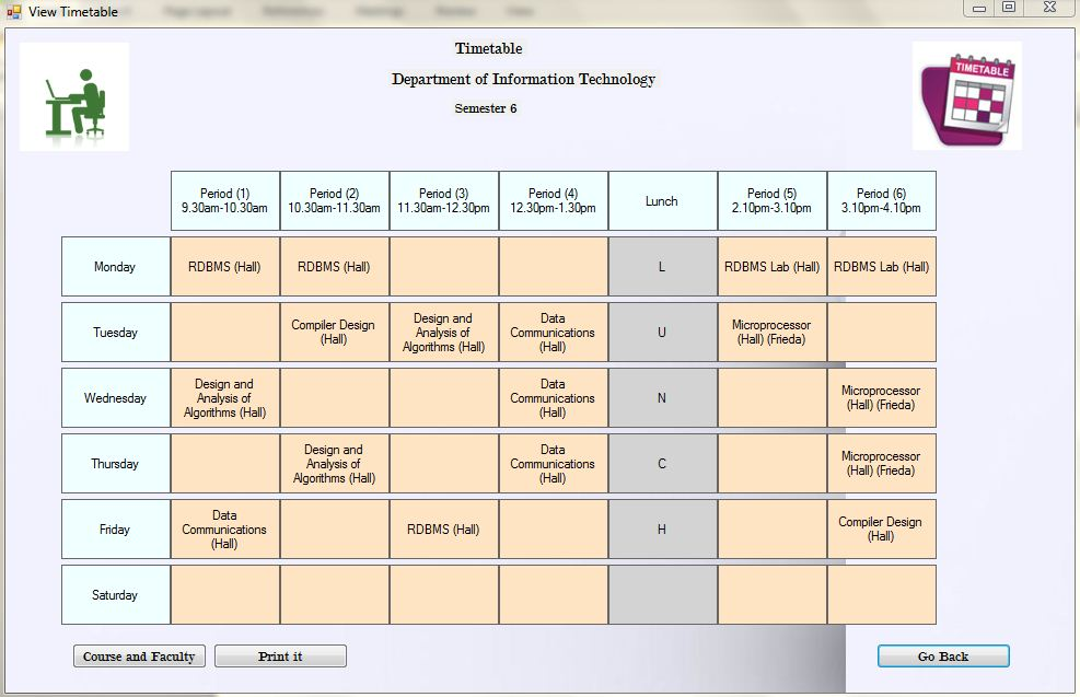 Time Table Generation System Semister wise