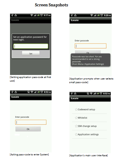 iLocate Output Screens