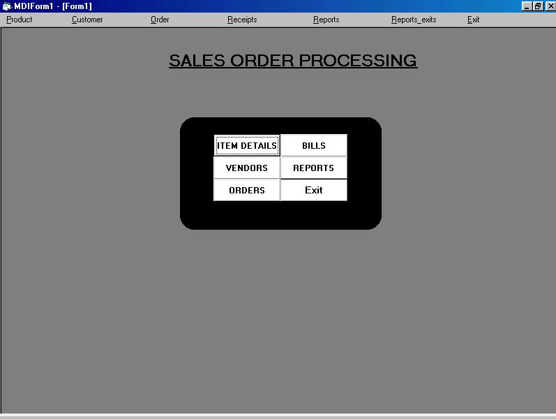 Sales Order Processing Project Screenshot