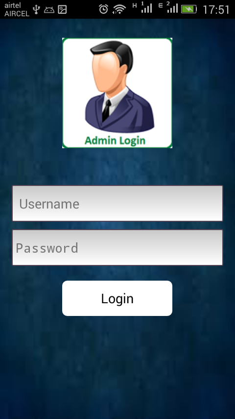 Output display of Admin Login Page
