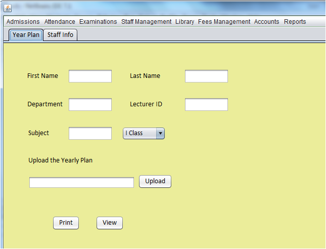 Staff Management Page View