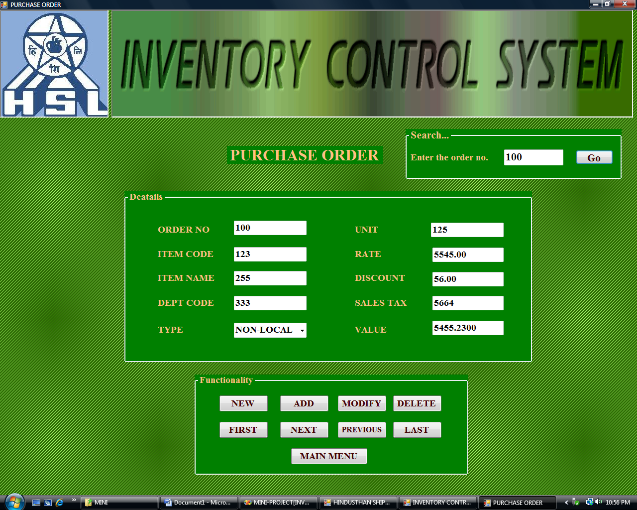 Inventory Control System purchase order form