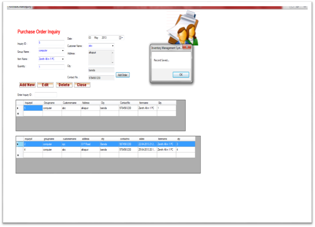 Inventory Management System Purchase Order Enquiry