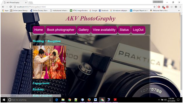 Booking Photography Gallery Page