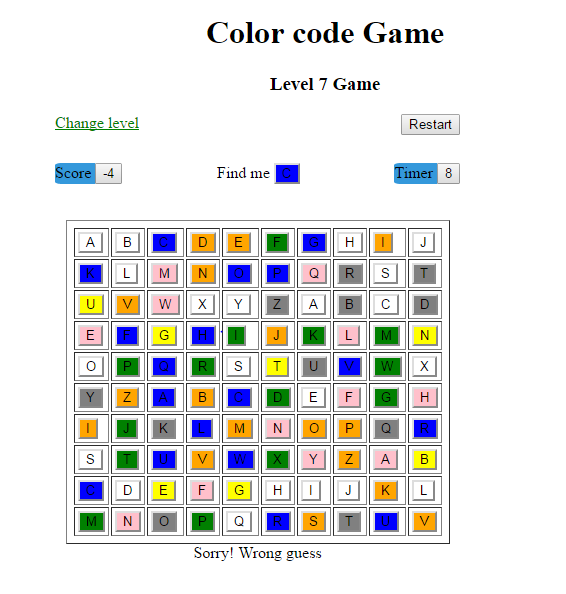 Color Hunt Game Simple Java Project Source Code