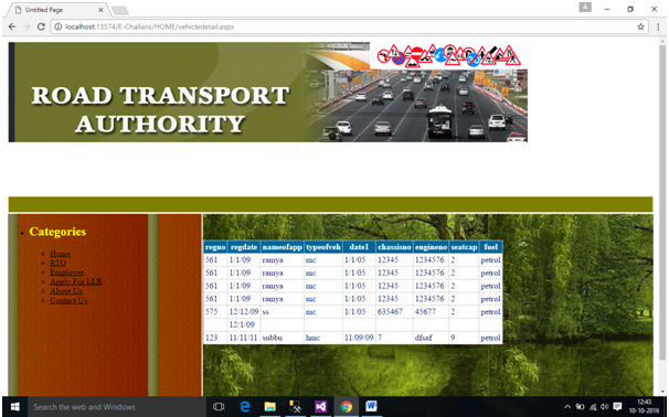 Road Transport Authority RTA Information System  Net Project