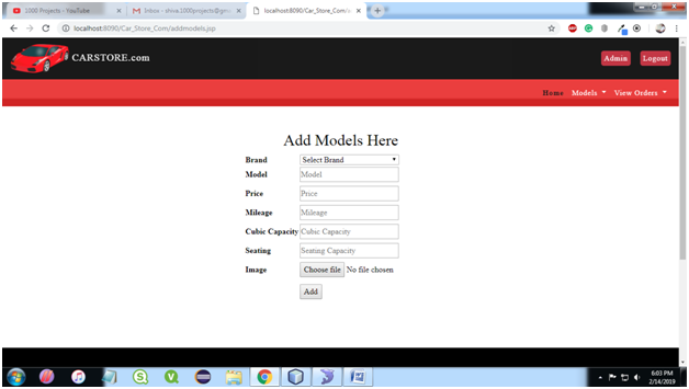 Car Store System Admin Add Models Page