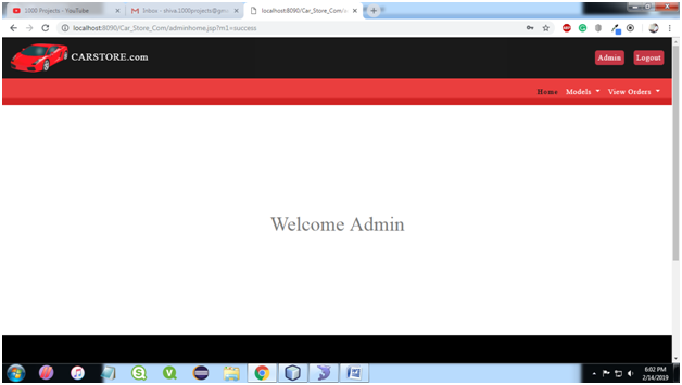 Admin Home Page for Car Store System Java Project