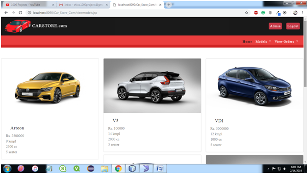 Car Store System Admin View Models Page