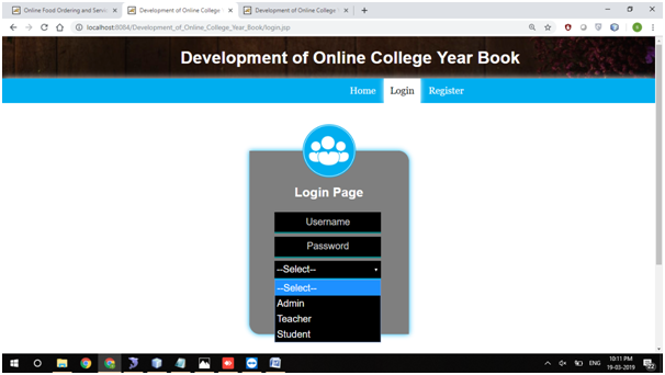 Development of College Yearbook Login Page