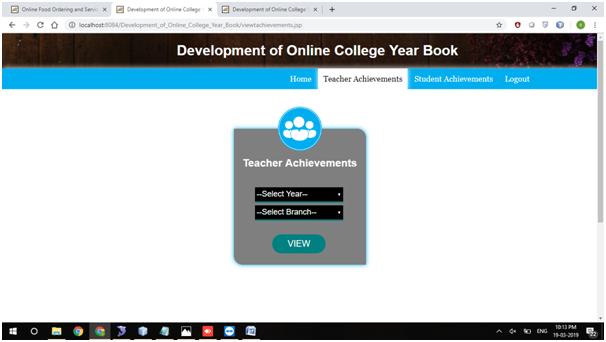 College Yearbook View Teacher Achievements output