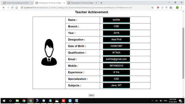 View Teacher Achievements Page