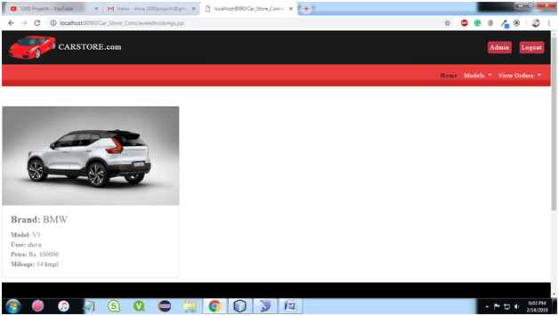 Car Store System View Bookings Page