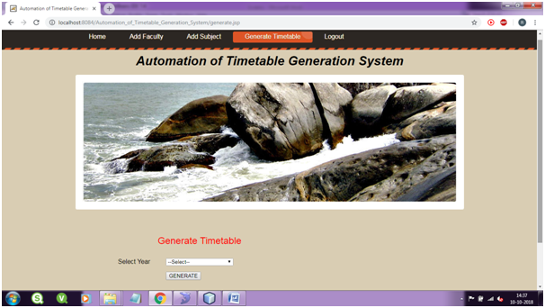 Time Table Generation Page