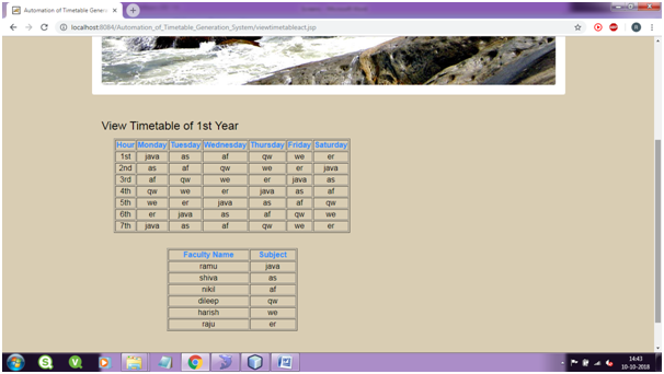 View Time Table page