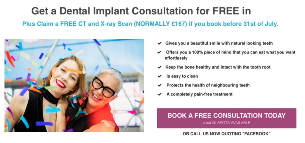 Landing page for dental implants