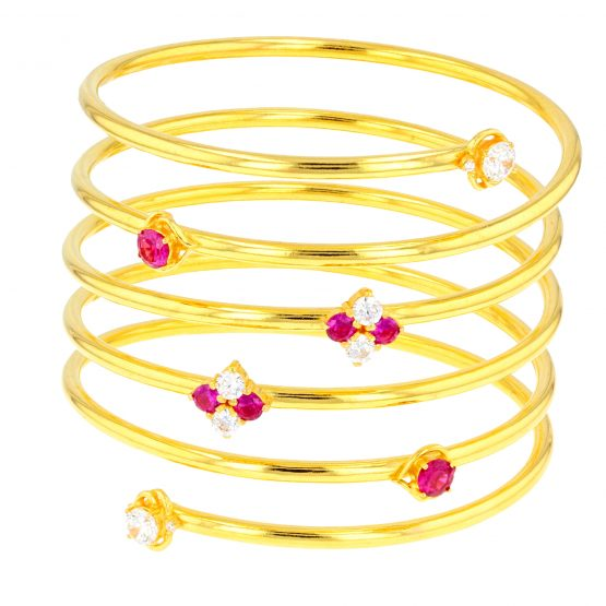 Ladies Spring Bangle with CZ Stones 22ct Yellow Gold 01