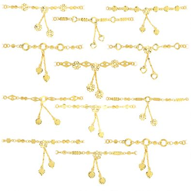 22ct Yellow Gold Light Necklace – Mixed Flat Hanging Design (Polo Chain) Bundle 01
