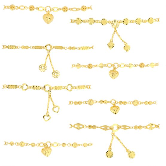 22ct Yellow Gold Light Necklace – Flat & Ball Mixed Design (Polo Chain) 01