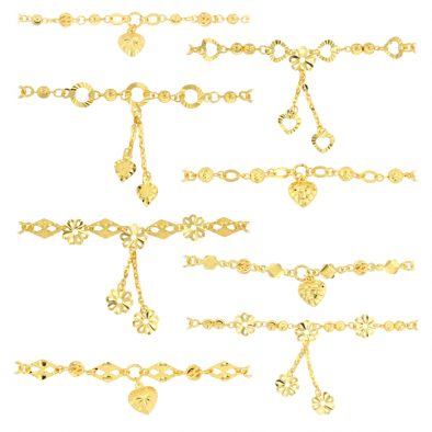 22ct Yellow Gold Light Necklace – Flat & Ball Mixed Design (Polo Chain) 02