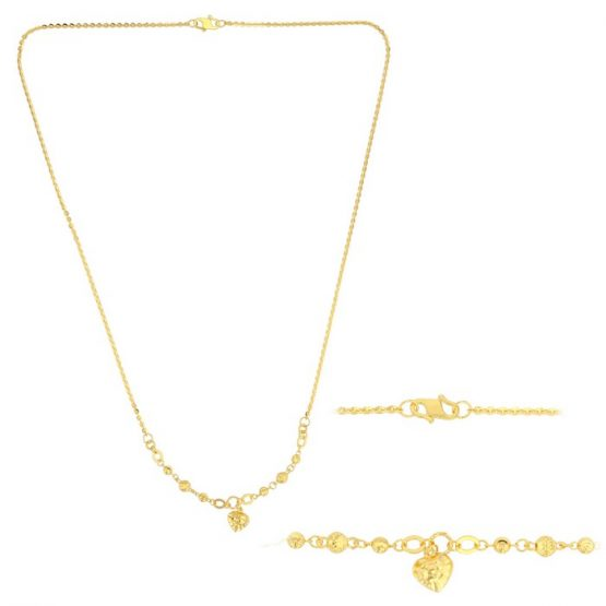 22ct Yellow Gold Light Necklace – Ball & Heart Design (Polo Chain) 02