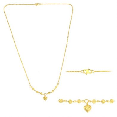 22ct Yellow Gold Light Necklace – Ball & Heart Design (Polo Chain) 03