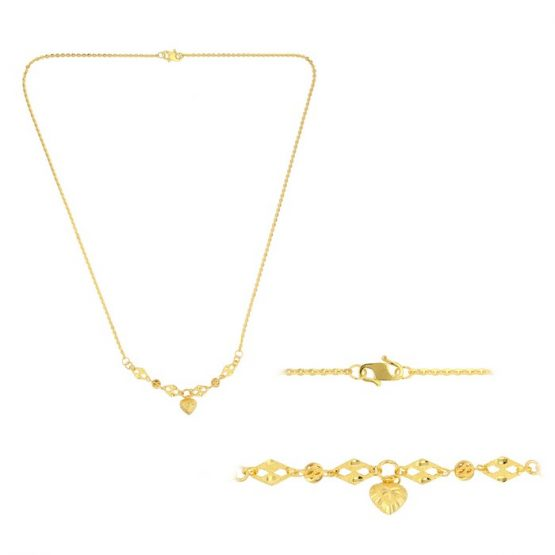 22ct Yellow Gold Light Necklace – Ball & Heart Design (Polo Chain) 04