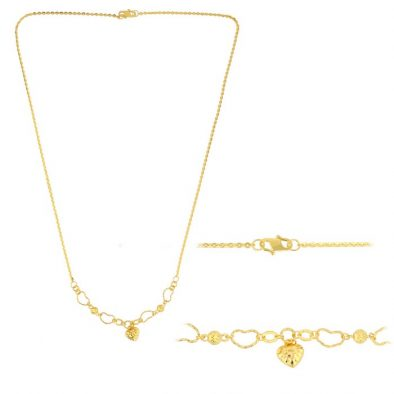 22ct Yellow Gold Light Necklace - Ball & Heart Design (Polo chain) 01