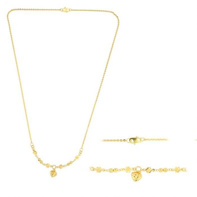 22ct Yellow Gold Light Necklace – Ball & Heart Design (Polo Chain) 06