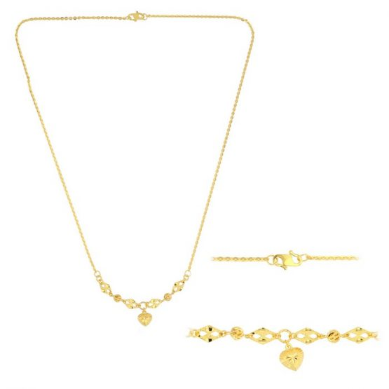 22ct Yellow Gold Light Necklace – Ball & Heart Design (Polo Chain) 07