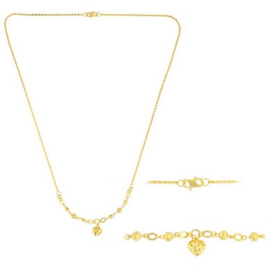 22ct Yellow Gold Light Necklace – Ball & Heart Design (Polo Chain) 08