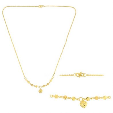 22ct Yellow Gold Light Necklace – Ball & Heart Design (Polo Chain) 09