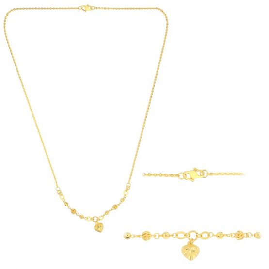 22ct Yellow Gold Light Necklace – Ball & Heart Design (Polo Chain) 10