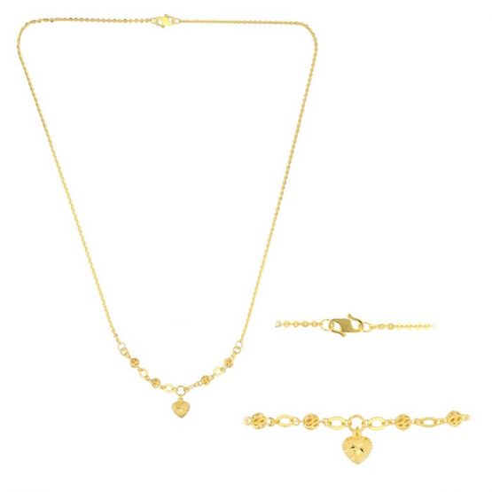 22ct Yellow Gold Light Necklace – Ball & Heart Design (Polo Chain) 11