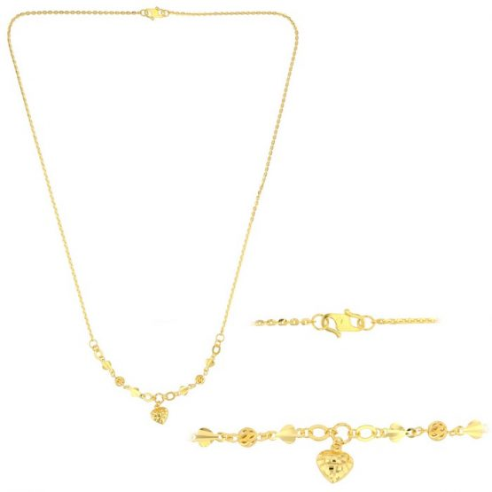 22ct Yellow Gold Light Necklace – Ball & Heart Design (Polo Chain) 12