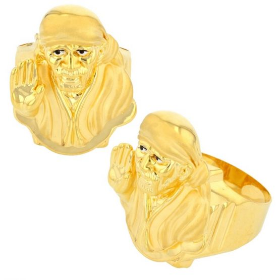 22ct Yellow Gold Men's Ring – Shirdi Sai Baba / Matt Design 01