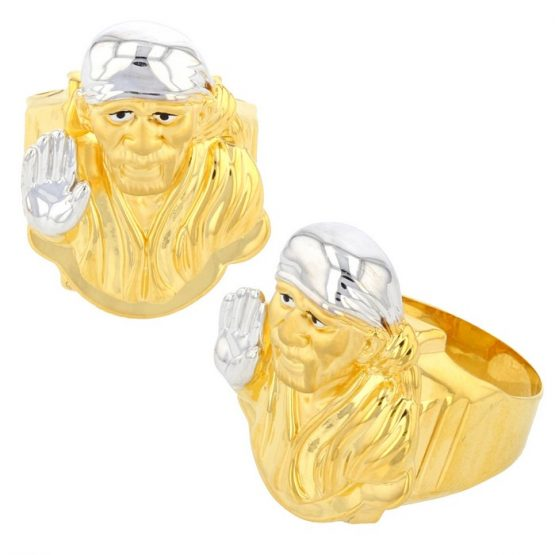 22ct Yellow Gold Men's Ring – Shirdi Sai Baba / Shiny Gold & Rhodium Design 03