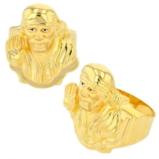 22ct Yellow Gold Men's Ring – Shirdi Sai Baba / Shiny Design 02